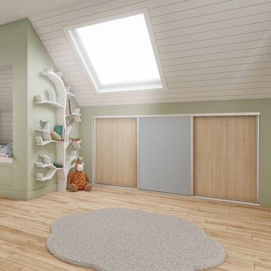 Façade de placard coulissante 3 portes décor acacia clair, décor ...