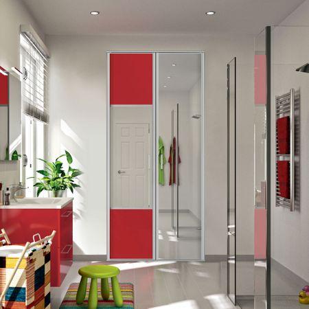 fa ade de placard coulissante 3 portes d cor fuchsia miroir argent kazed. Black Bedroom Furniture Sets. Home Design Ideas