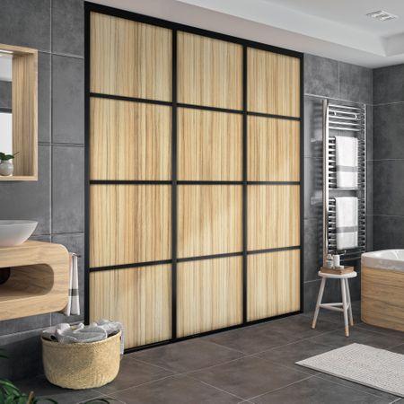 fa ade de placard coulissante 2 portes d cor merisier romana kazed. Black Bedroom Furniture Sets. Home Design Ideas