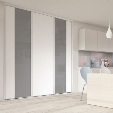 Façade de placard coulissante 3 portes verre laqué gris perle, décor ...