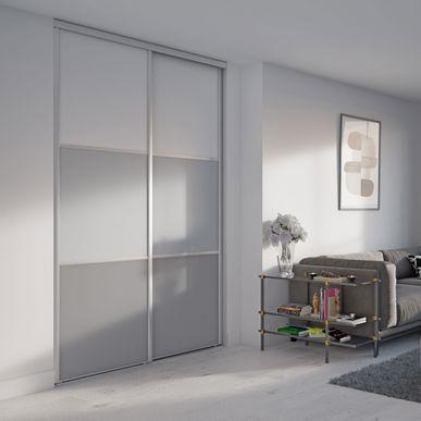 4e0b880d4ac Alouette 2 Façade de placard coulissante 2 portes décor blanc mat